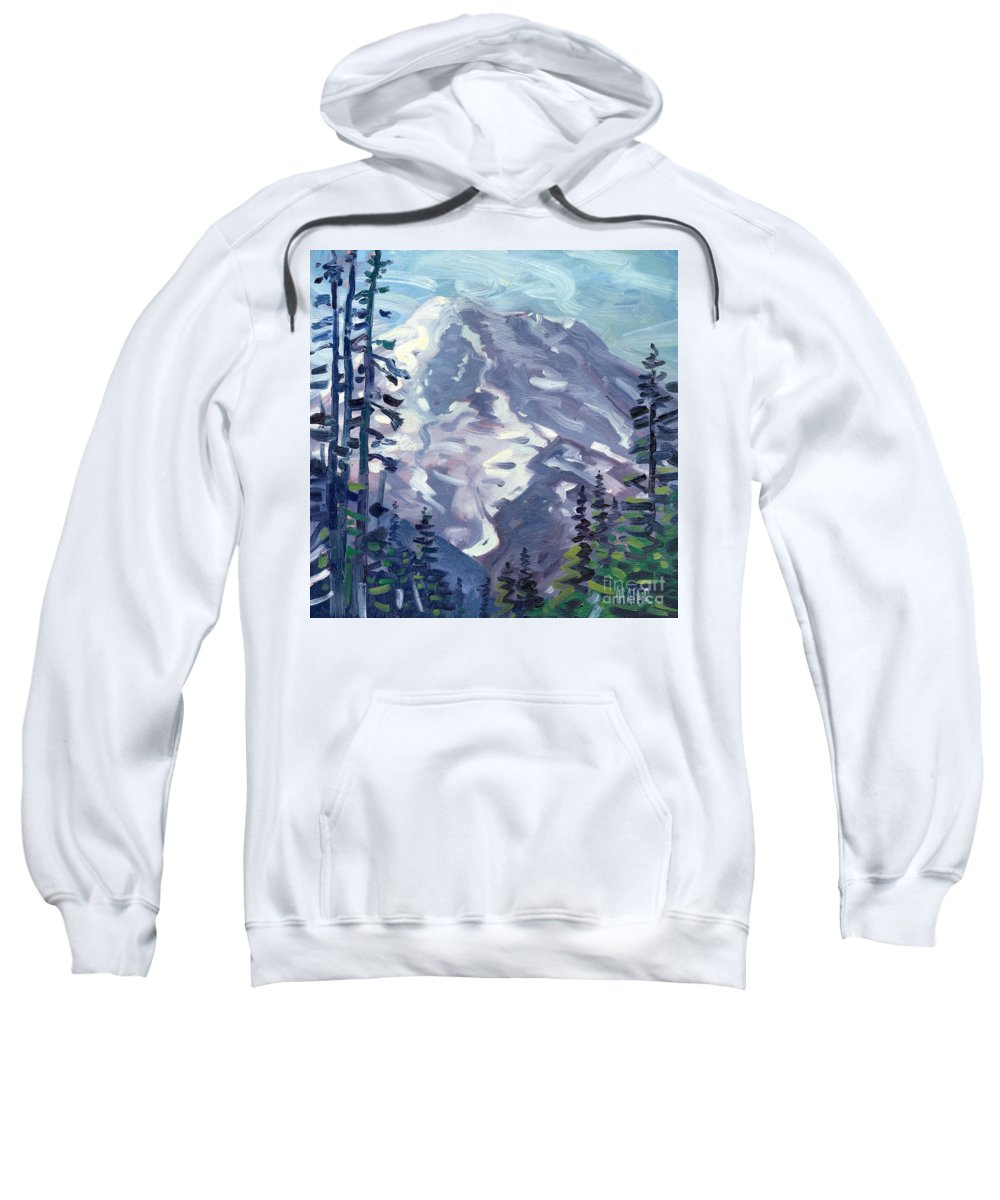 Mt. Rainier Sweatshirt featuring the painting Mount Rainier From Sunrise Point by Donald Maier