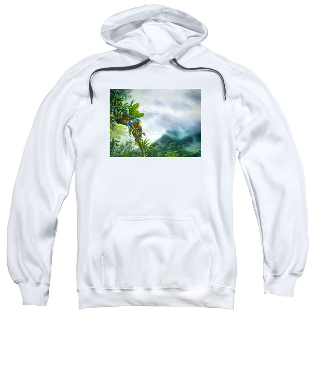 Chris Cox Sweatshirt featuring the painting Mountain High - St. Lucia Parrots by Christopher Cox