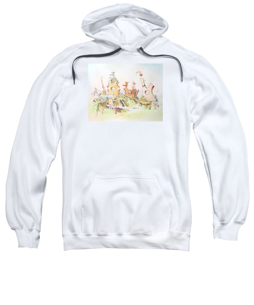 Landscape Sweatshirt featuring the painting Mountain Retreat by Dave Martsolf
