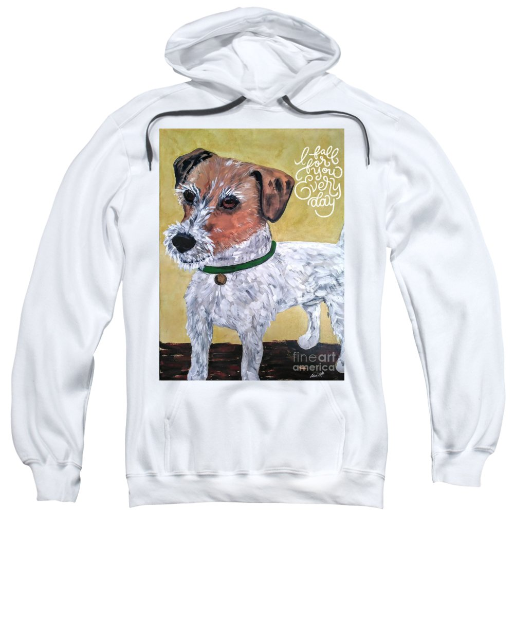 Dogs Sweatshirt featuring the painting Mr. R. Terrier by Reina Resto