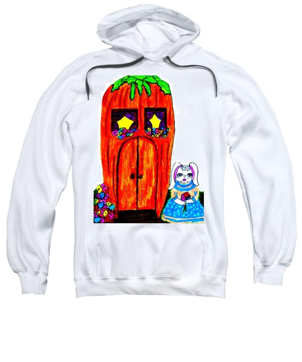 Rabbit Sweatshirt featuring the pastel Ms. Bunny's Carrot House by Jo-Ann Hayden