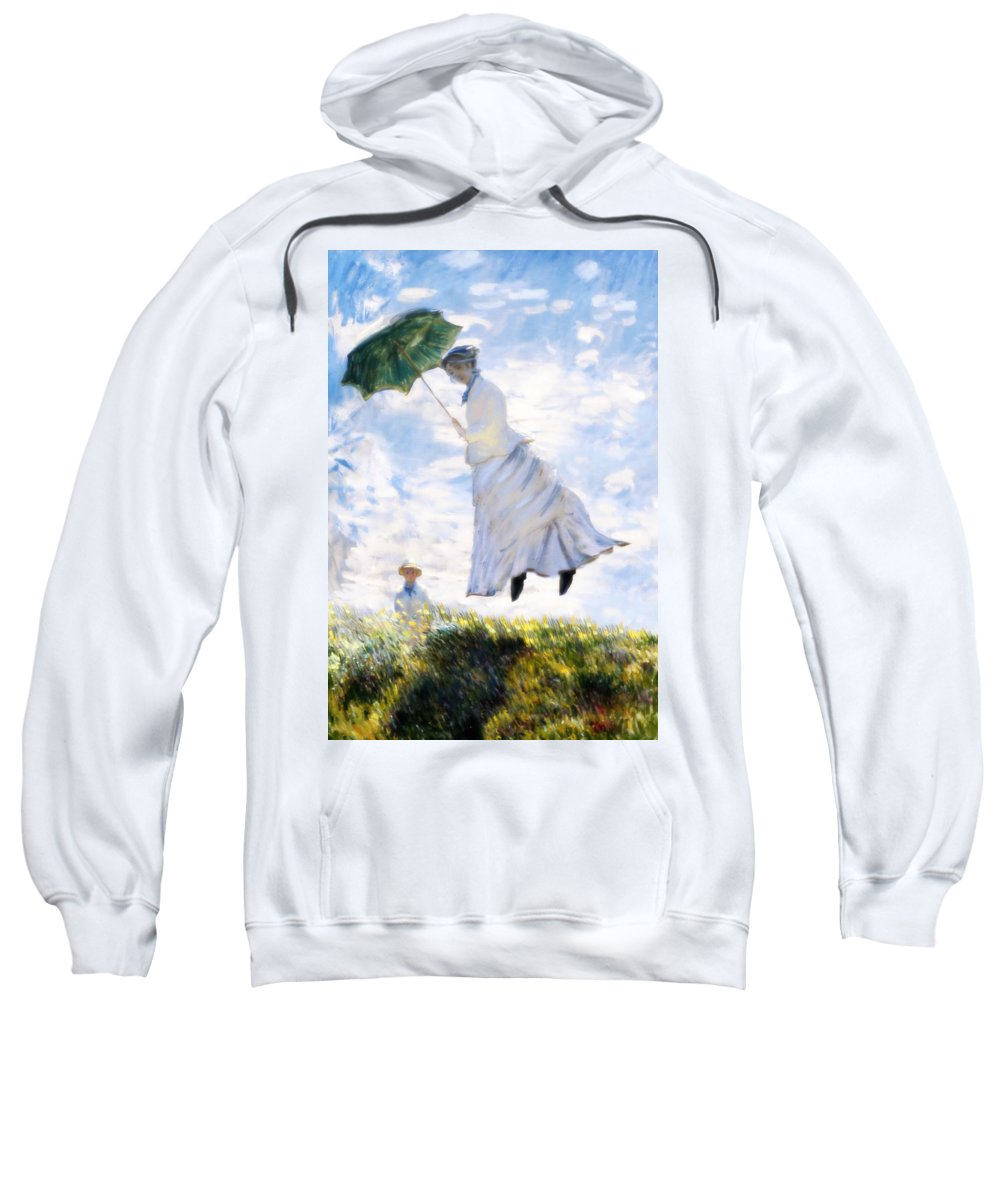 Camille Monet Sweatshirt featuring the painting Ms Monet Blown Away by Gravityx9 Designs