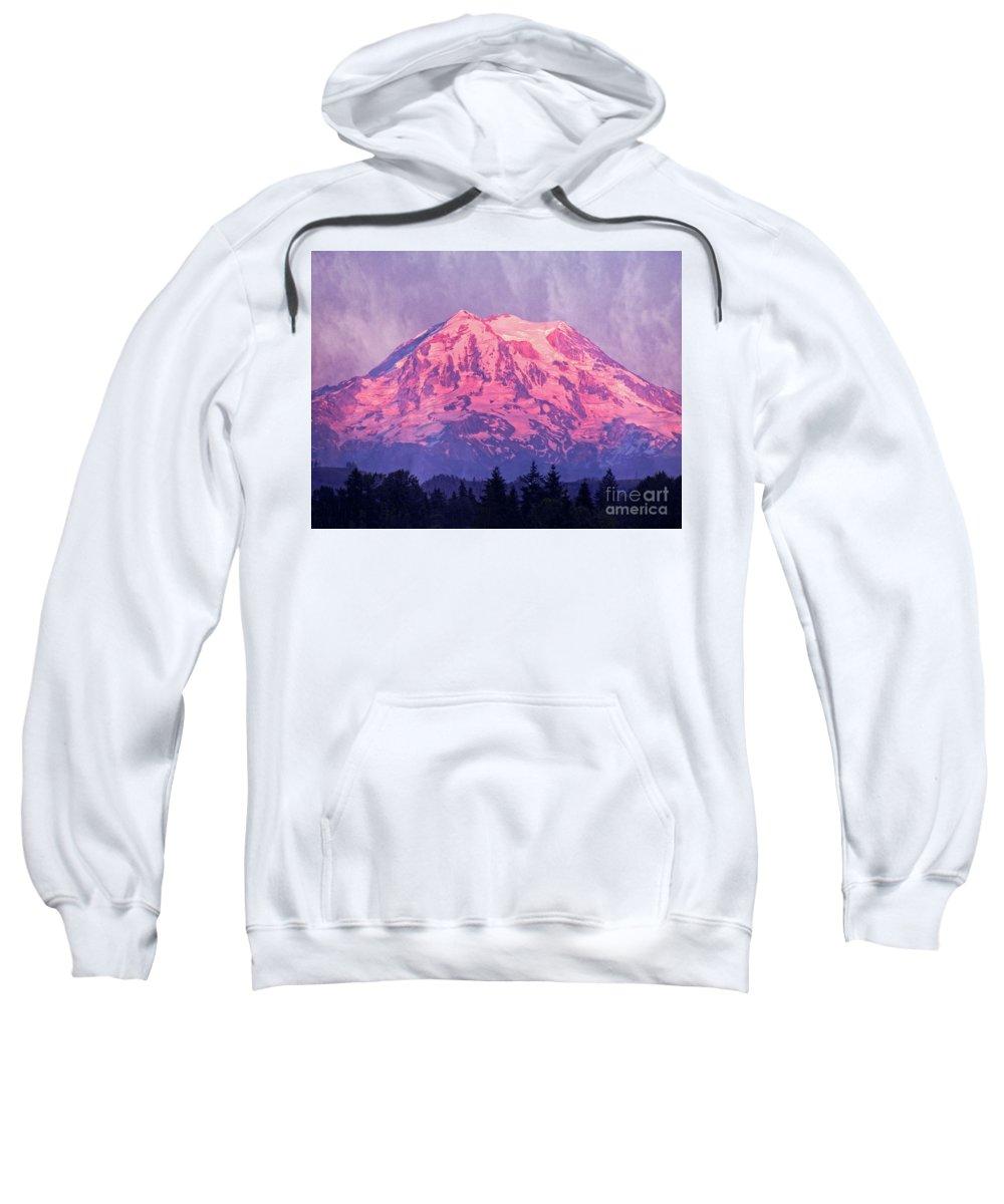 Mt. Rainier Sweatshirt featuring the photograph Mt. Rainier by Jim And Emily Bush