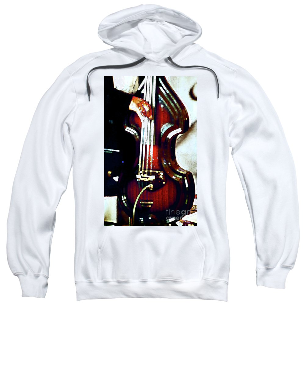Abstract Sweatshirt featuring the photograph Music Man Bass Violin by Linda Parker