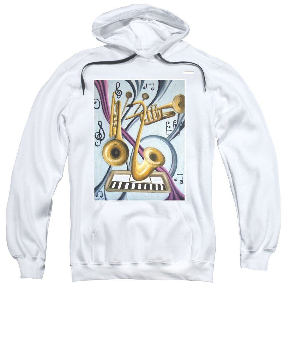 Abstract Paintings Sweatshirt featuring the painting Music by Olaoluwa Smith