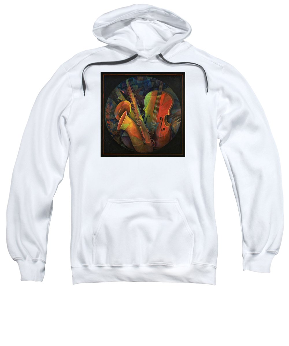 Susanne Clark Sweatshirt featuring the painting Musical Mandala - Features Cello And Sax's by Susanne Clark