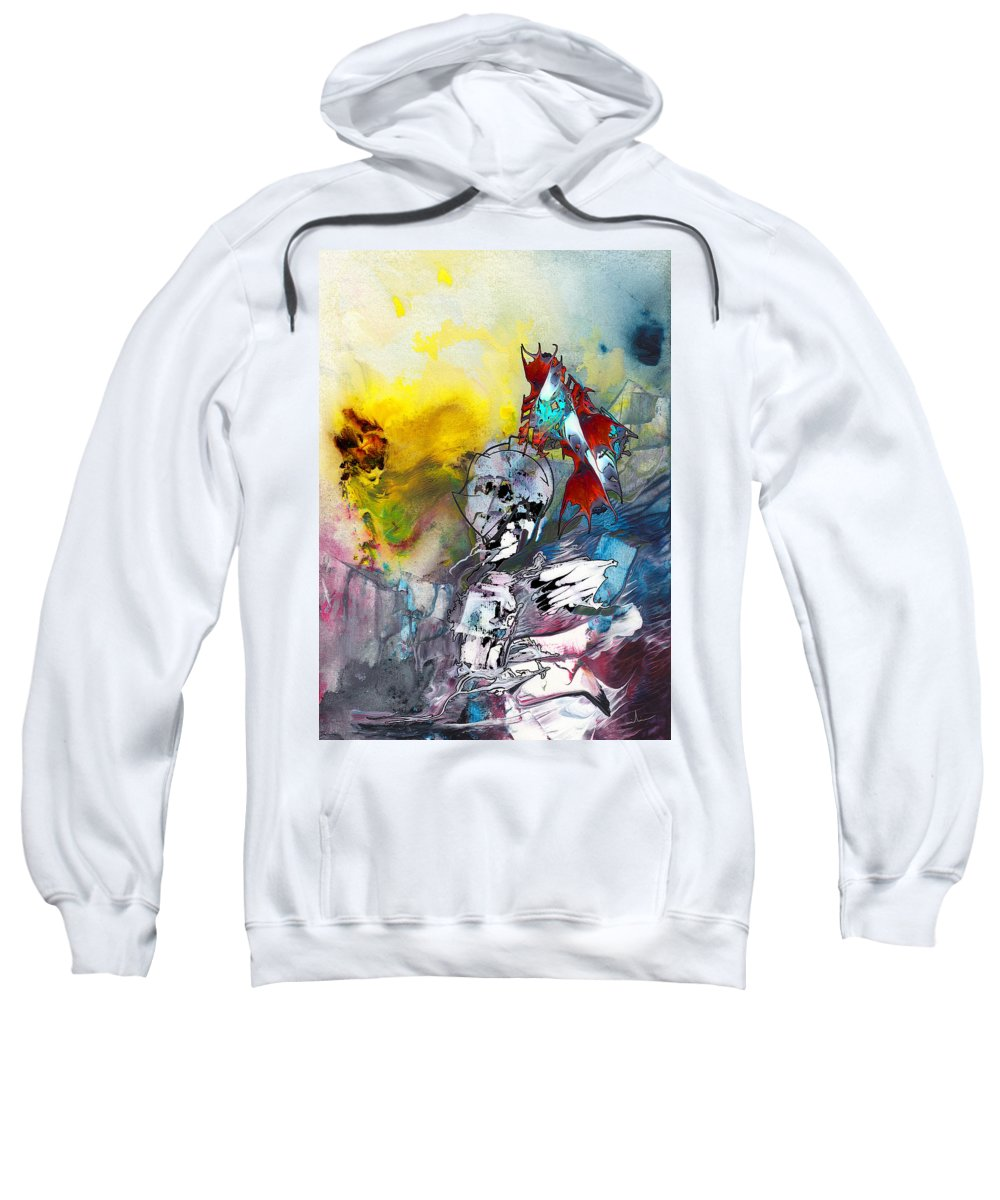 Fantasy Sweatshirt featuring the painting My Knight In Shining Armour by Miki De Goodaboom