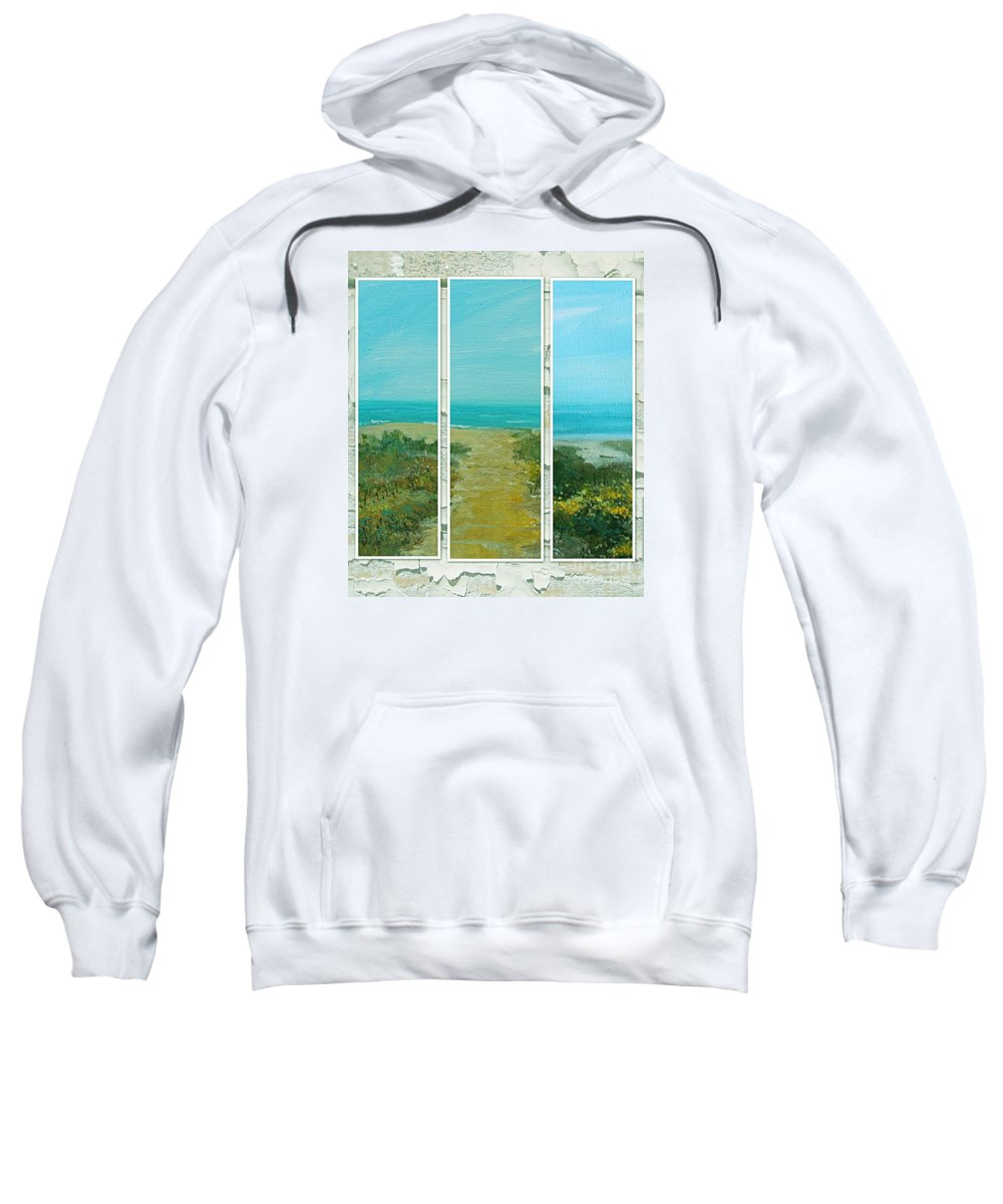 Beach Sweatshirt featuring the painting The View Of My Private Beach by Rita Brown