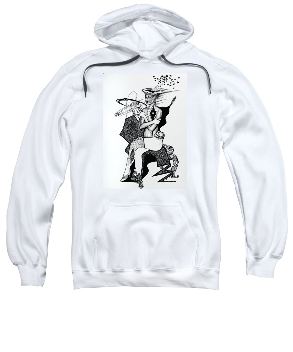 Love Sweatshirt featuring the drawing My Shadow And I by Yelena Tylkina