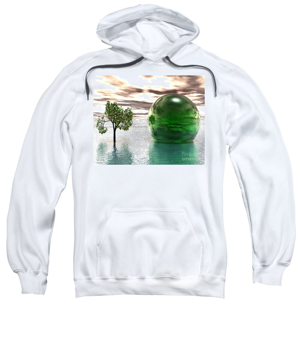 Surreal Sweatshirt featuring the digital art Mystic Surreal In Green by Oscar Basurto Carbonell