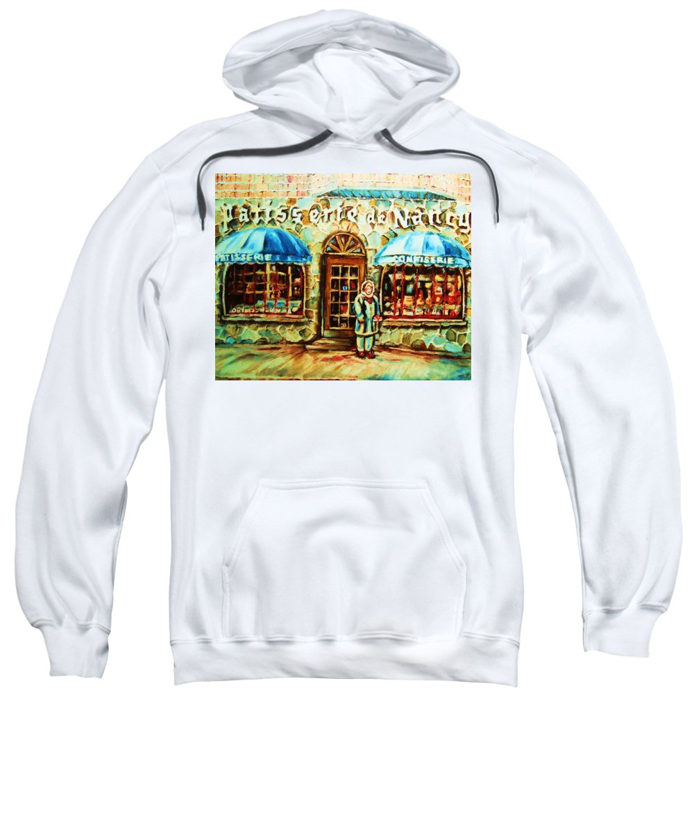 Bakery Shops Sweatshirt featuring the painting Nancys Fine Pastries by Carole Spandau