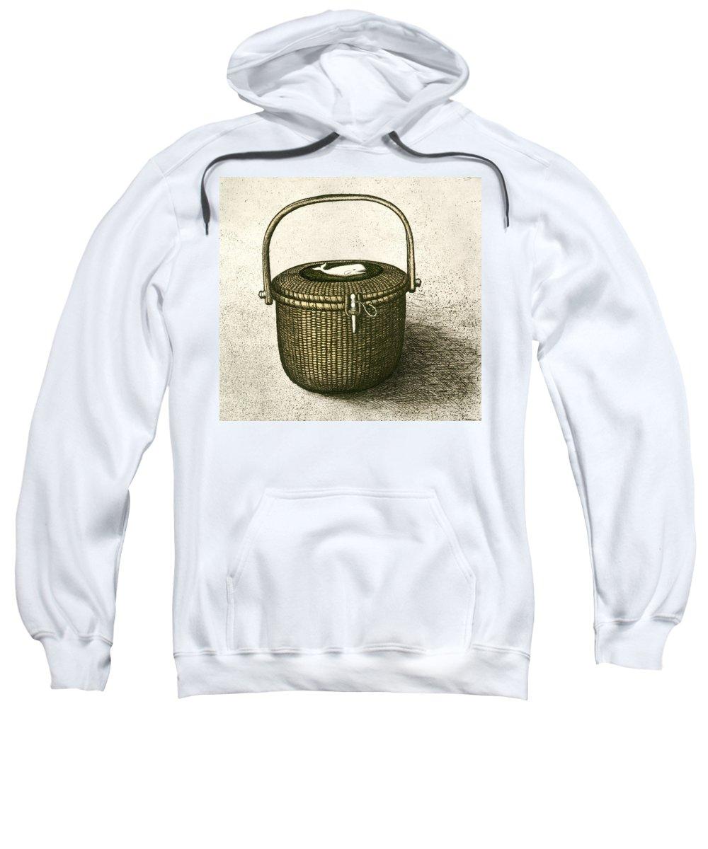 Nantucket Sweatshirt featuring the drawing Nantucket Basket by Charles Harden