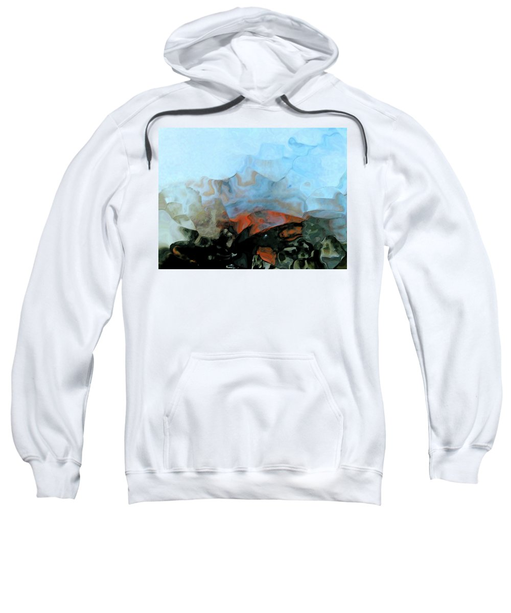 Abstract Sweatshirt featuring the digital art Napoleon The Cat Dives For Big Fish by Lenore Senior