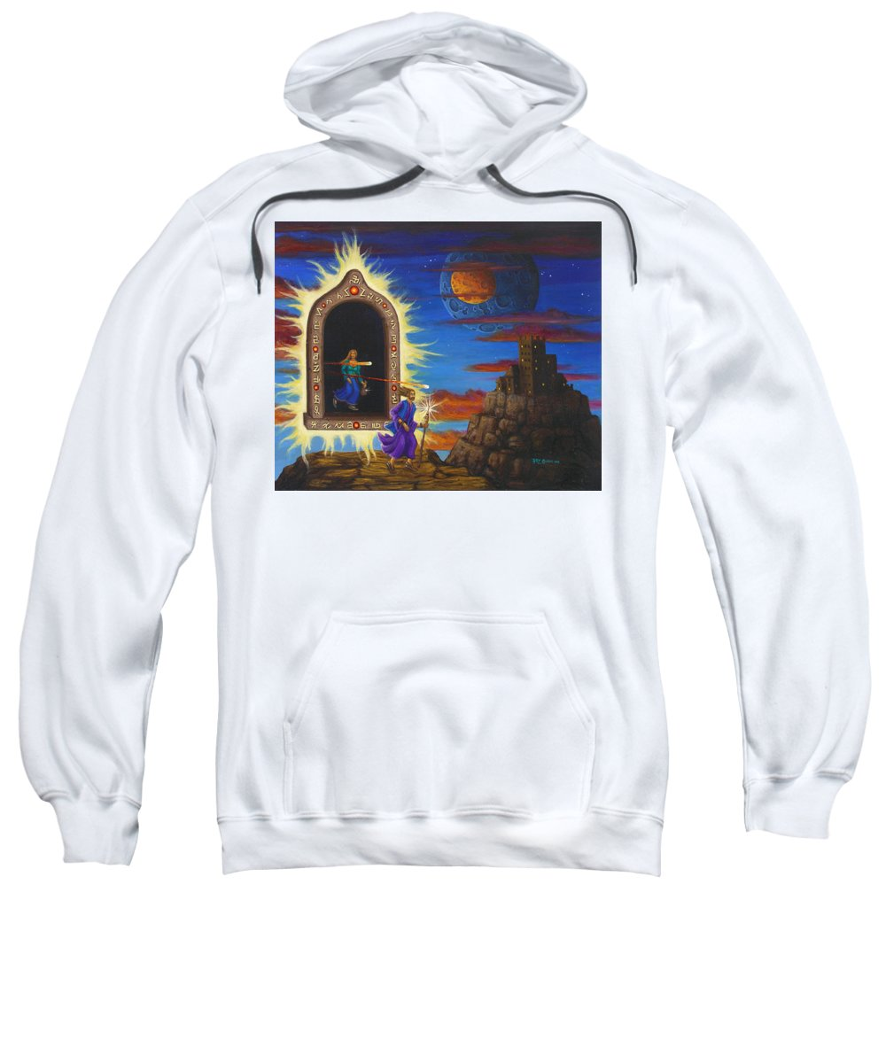 Fantasy Sweatshirt featuring the painting Narrow Escape by Roz Eve