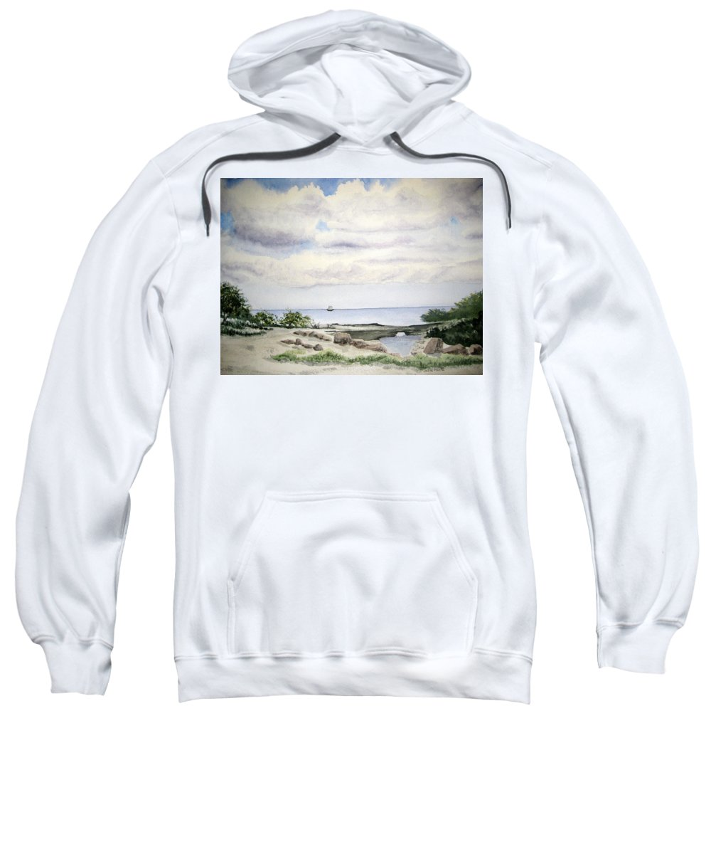 Natalie Sweatshirt featuring the painting Natalie's Beach by Julia RIETZ