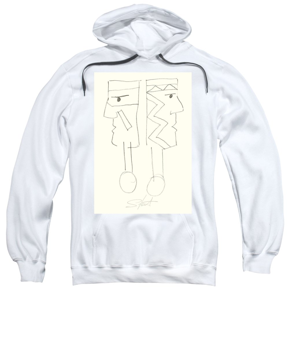 Native Americans Sweatshirt featuring the painting Native Americans Drawing by Charles Stuart