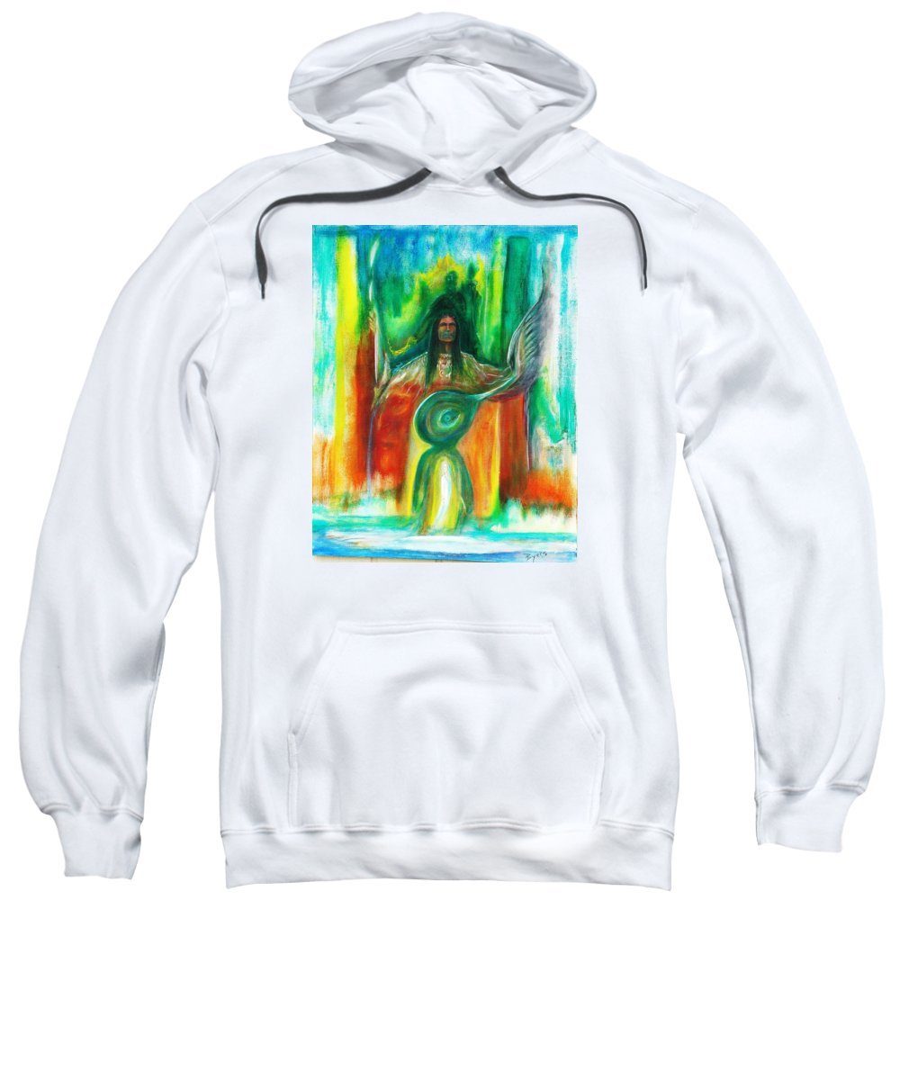 Native American Sweatshirt featuring the painting Native Awakenings by Kicking Bear Productions