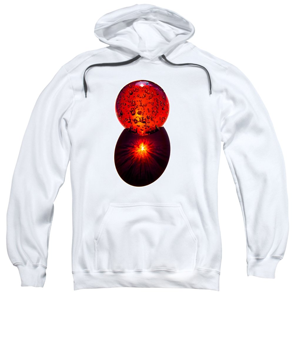 Fire; Sunset; Sunrise; Rays; Sun; Refracting; Gold; Golden; Glass; Ball; Bubbles; Sphere; Strong; Re Sweatshirt featuring the photograph Nature Through My Crystal Ball by Allan Hughes