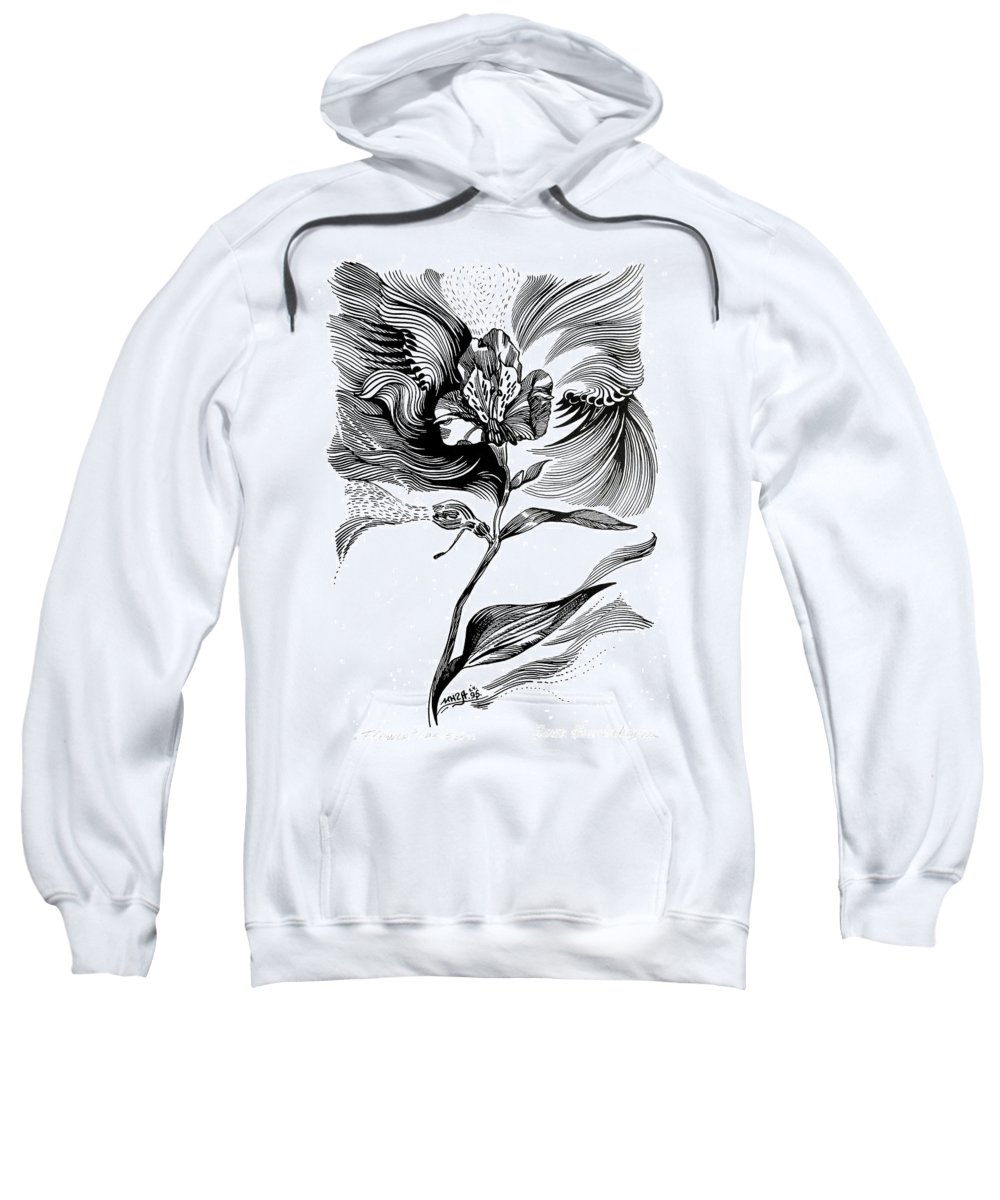 Inga Vereshchagina Sweatshirt featuring the drawing Nature's Waves by Inga Vereshchagina