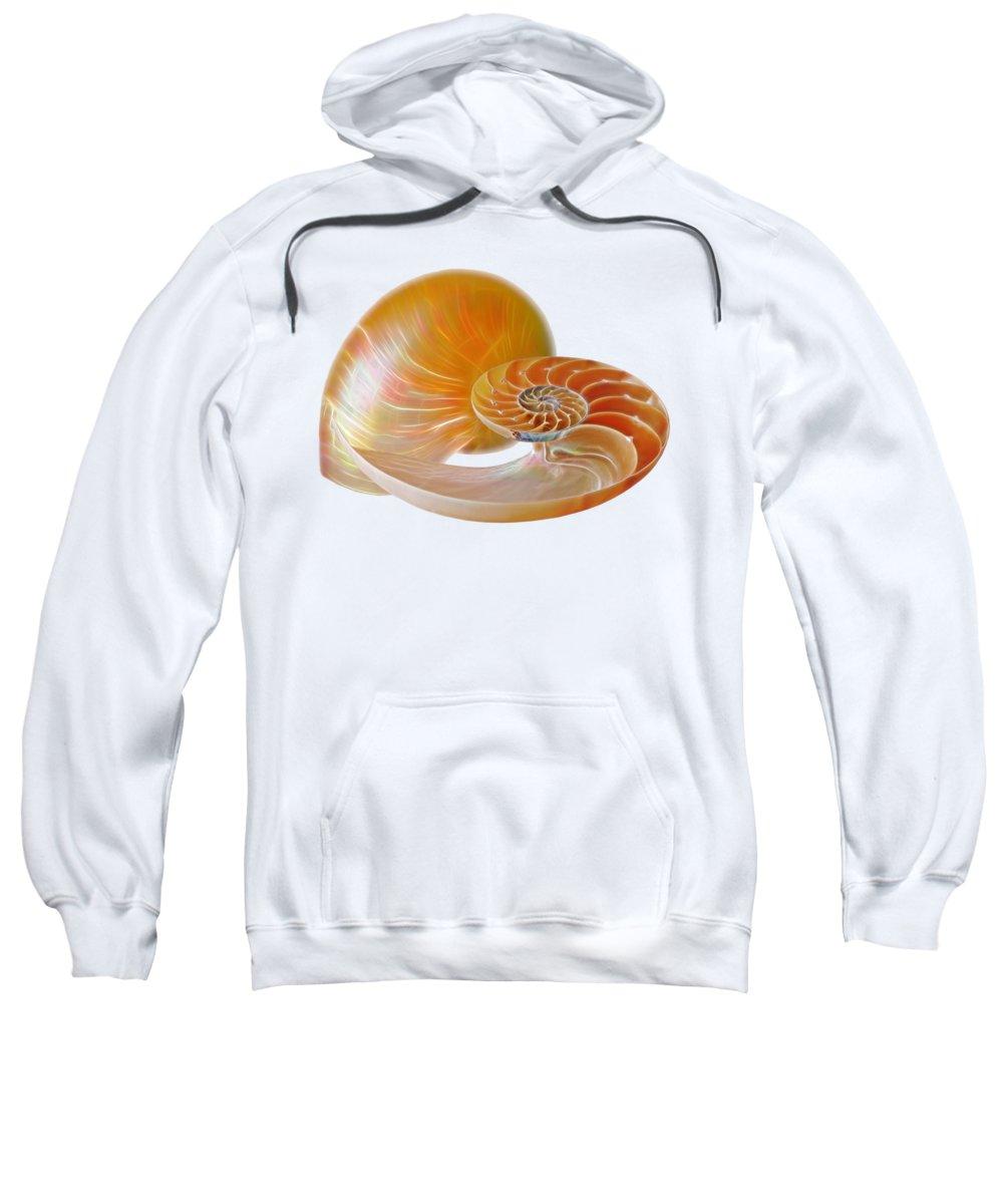Nautilus Shell Sweatshirt featuring the photograph Nautilus Golden Glow by Gill Billington