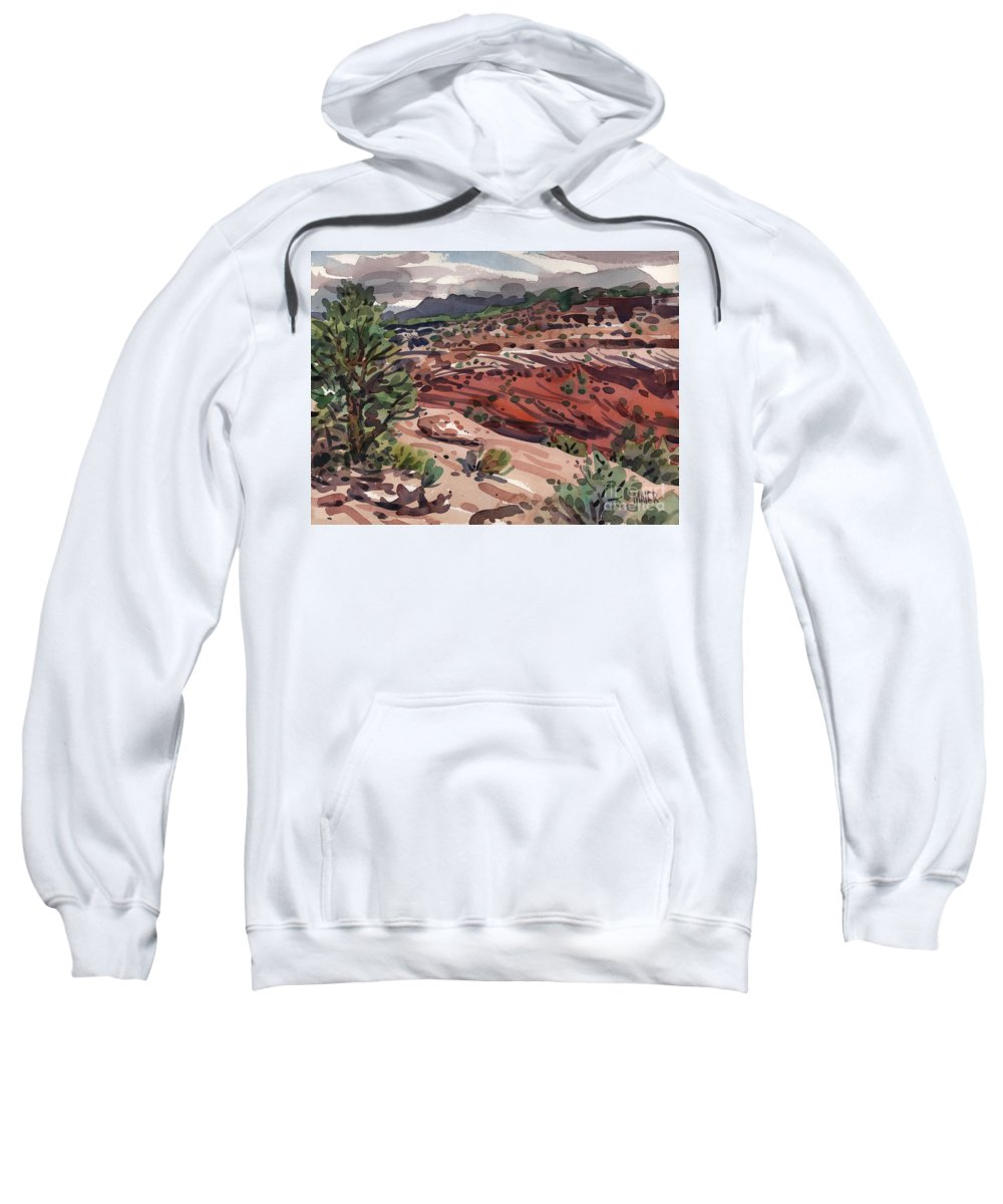 Canyon De Chelly Sweatshirt featuring the painting Near The Edge by Donald Maier