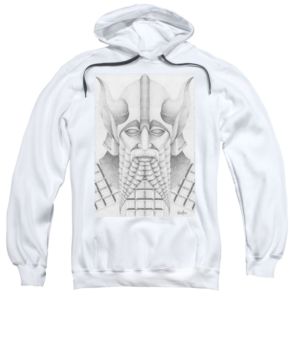 Babylonian Sweatshirt featuring the drawing Nebuchadezzar by Curtiss Shaffer