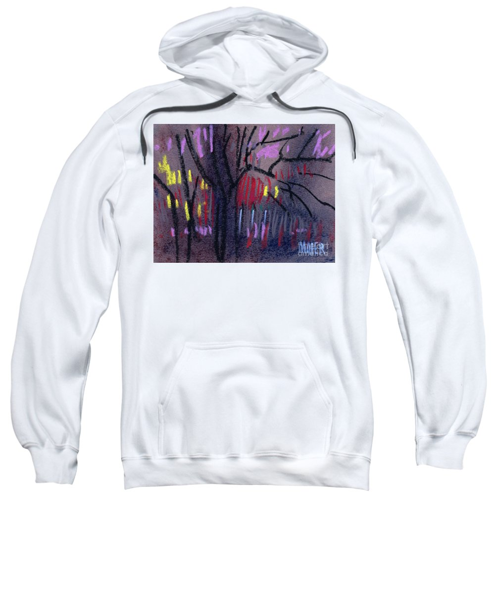 Abstract Sweatshirt featuring the drawing Neighbor's Lights by Donald Maier