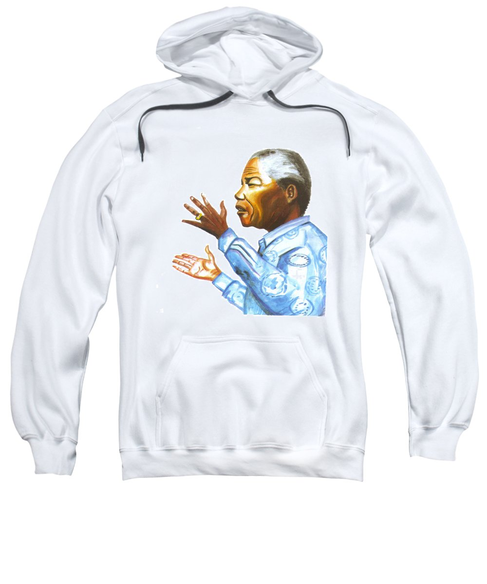 Portraits Sweatshirt featuring the painting Nelson Mandela by Emmanuel Baliyanga