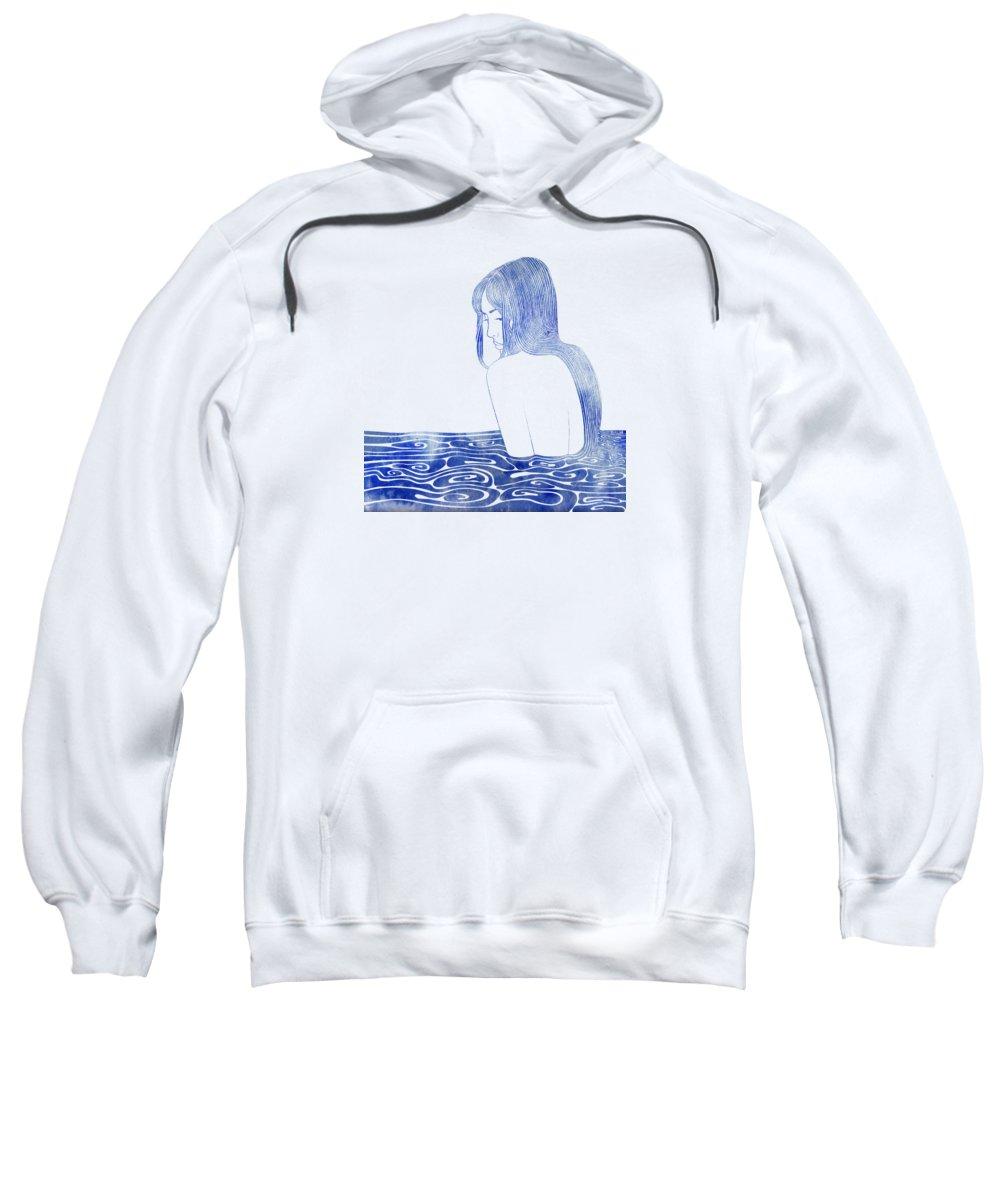 Aqua Sweatshirt featuring the mixed media Nereid Xl by Stevyn Llewellyn