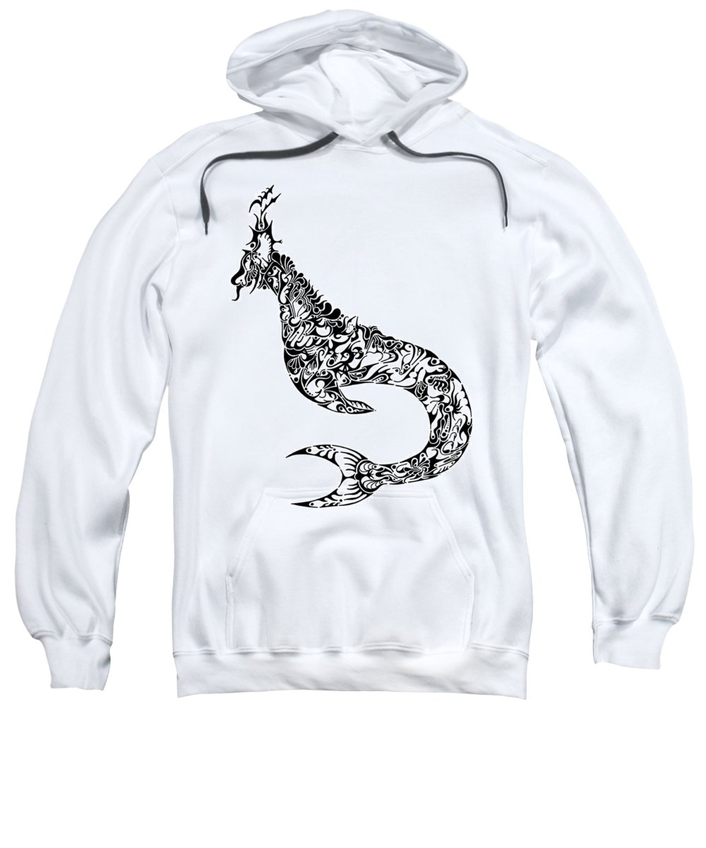 Dinosaur Sweatshirt featuring the drawing Nessy by Thomas Coleman