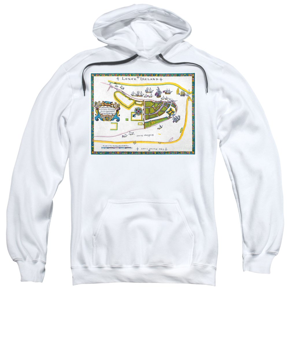 1661 Sweatshirt featuring the photograph New Amsterdam Map, 1661 by Granger
