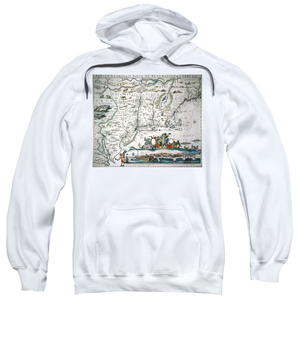 1673 Sweatshirt featuring the photograph New Netherland Map by Granger