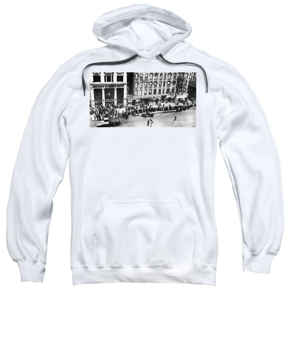 1930 Sweatshirt featuring the photograph New York: Bank Run, 1930 by Granger