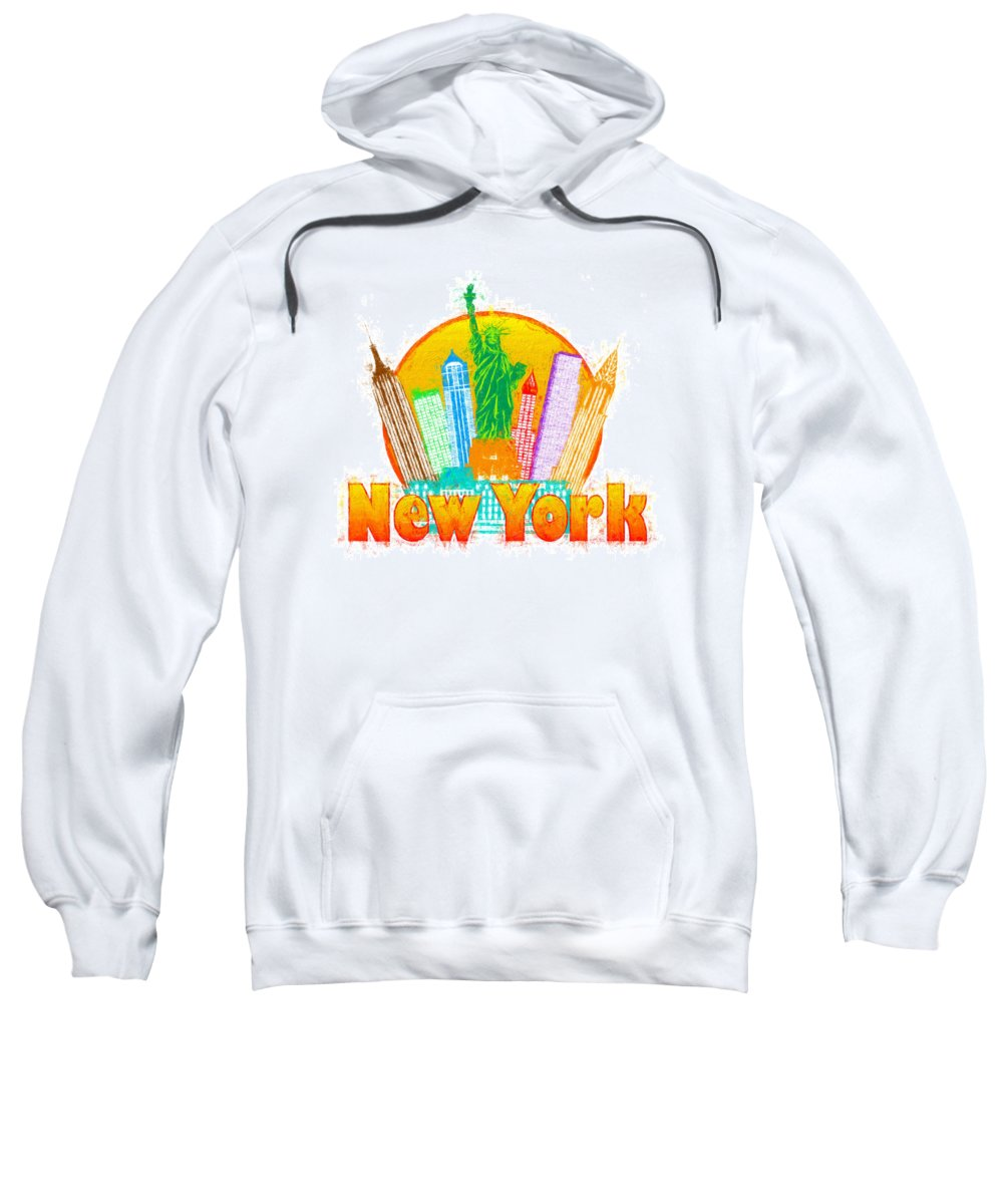 New York Sweatshirt featuring the photograph New York City Colorful Skyline In Circle Impressionist Illustrat by Jit Lim