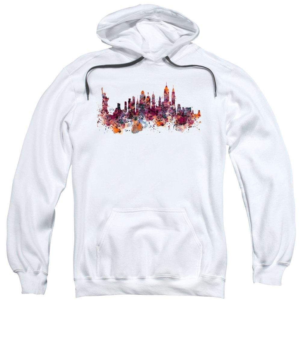 Manhattan Skyline Paintings Hooded Sweatshirts T-Shirts