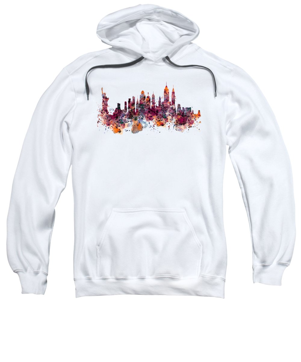 New York Sweatshirt featuring the painting New York Skyline Watercolor by Marian Voicu