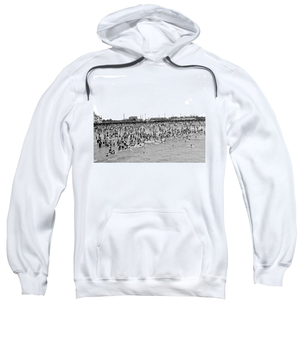1920s Sweatshirt featuring the photograph New Yorkers At Coney Island. by Underwood Archives