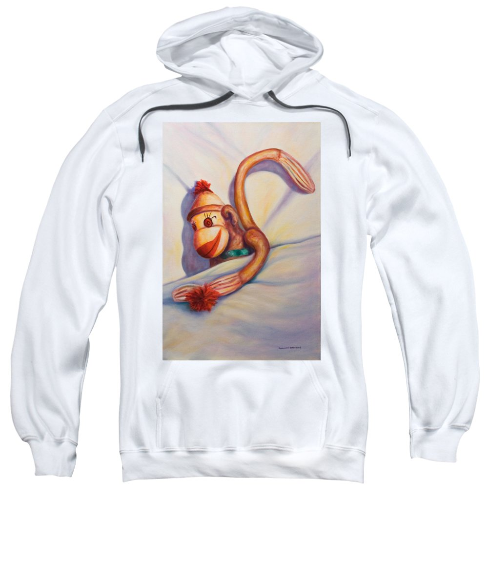 Children Sweatshirt featuring the painting Night Night Sock Monkey by Shannon Grissom