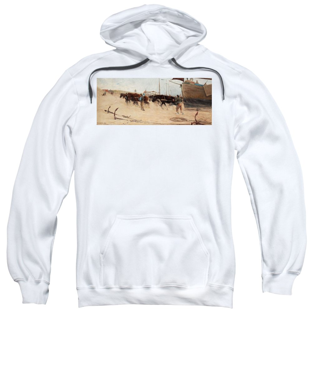 Nature Sweatshirt featuring the painting Nils Kreuger,  From The Dutch Coast. by Nils Kreuger
