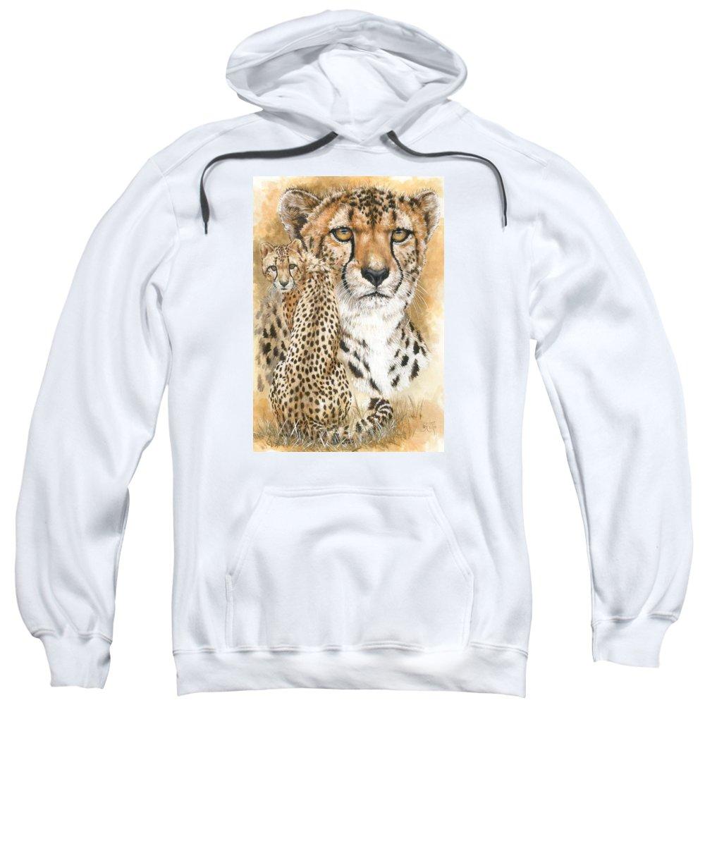 Cheetah Sweatshirt featuring the mixed media Nimble by Barbara Keith