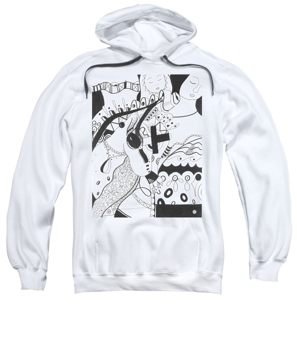 Animal Sweatshirt featuring the drawing Nobody Really Knows by Helena Tiainen