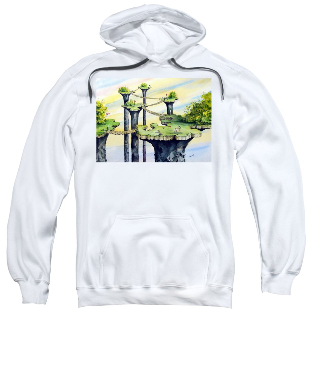 Golf Sweatshirt featuring the painting Nod Country Club by Sam Sidders