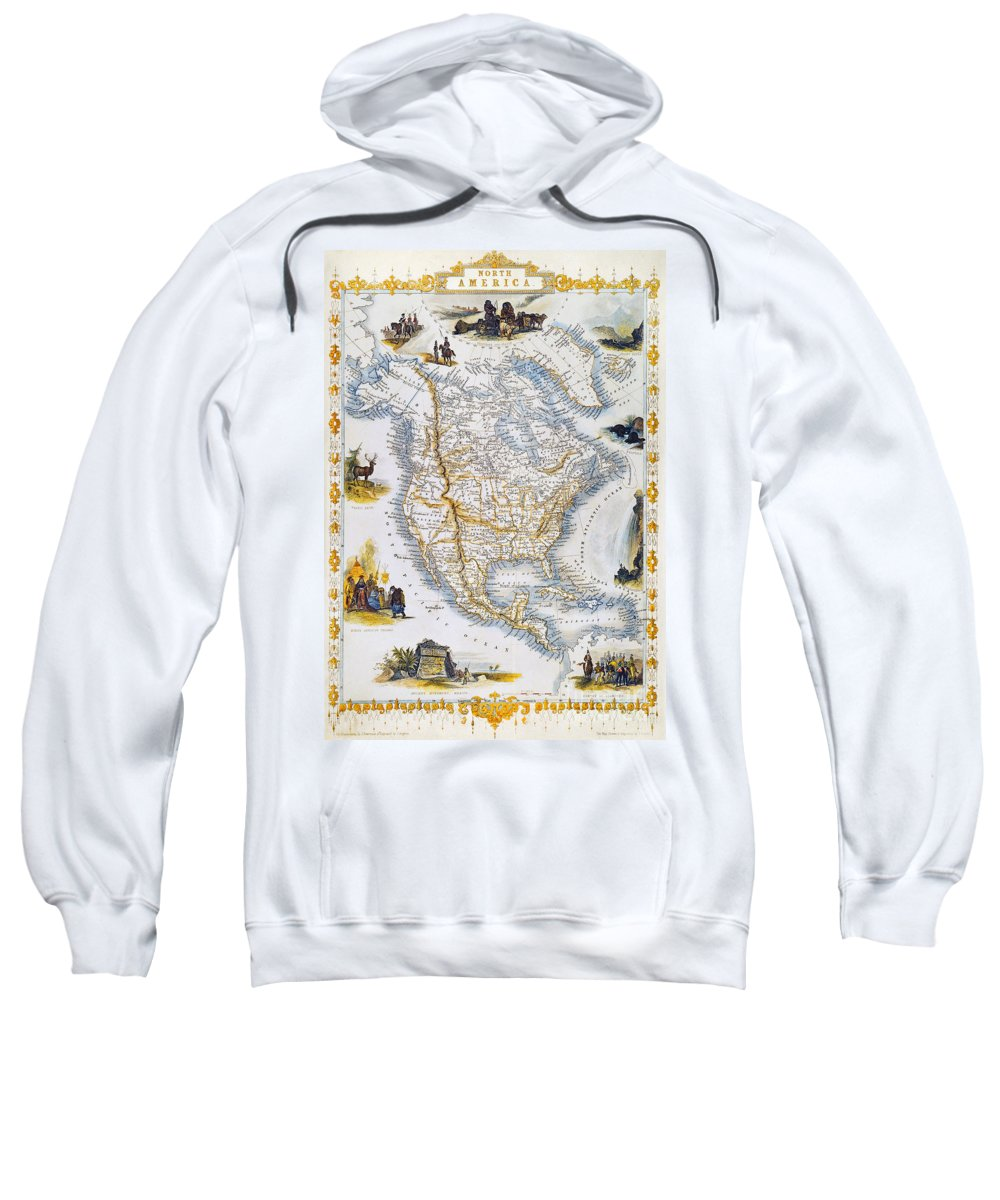 1851 Sweatshirt featuring the photograph North American Map, 1851 by Granger