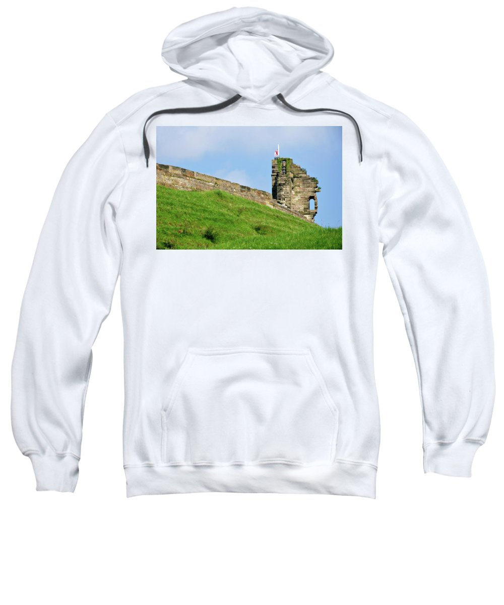 Bright Sweatshirt featuring the photograph North Tower- Tutbury Castle by Rod Johnson