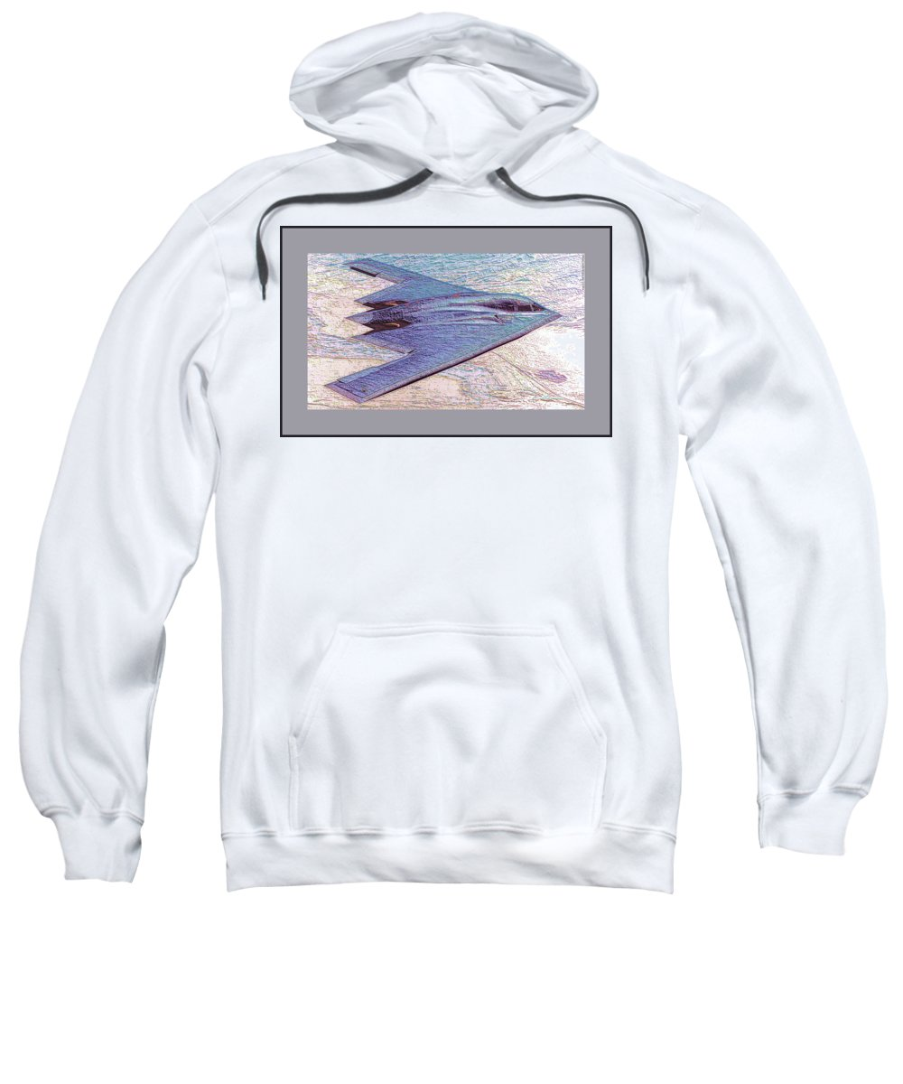 Northrop Grumman B-2 Spirit Stealth Bomber Enhanced Double Border Ii Sweatshirt featuring the photograph Northrop Grumman B-2 Spirit Stealth Bomber Enhanced With Double Border II by L Brown