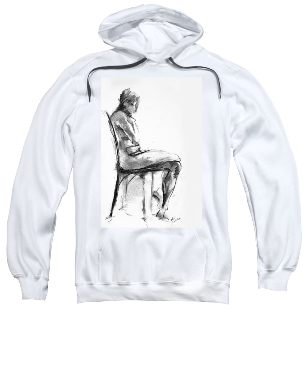 Nude Sweatshirt featuring the drawing Nude 1 by Ani Gallery