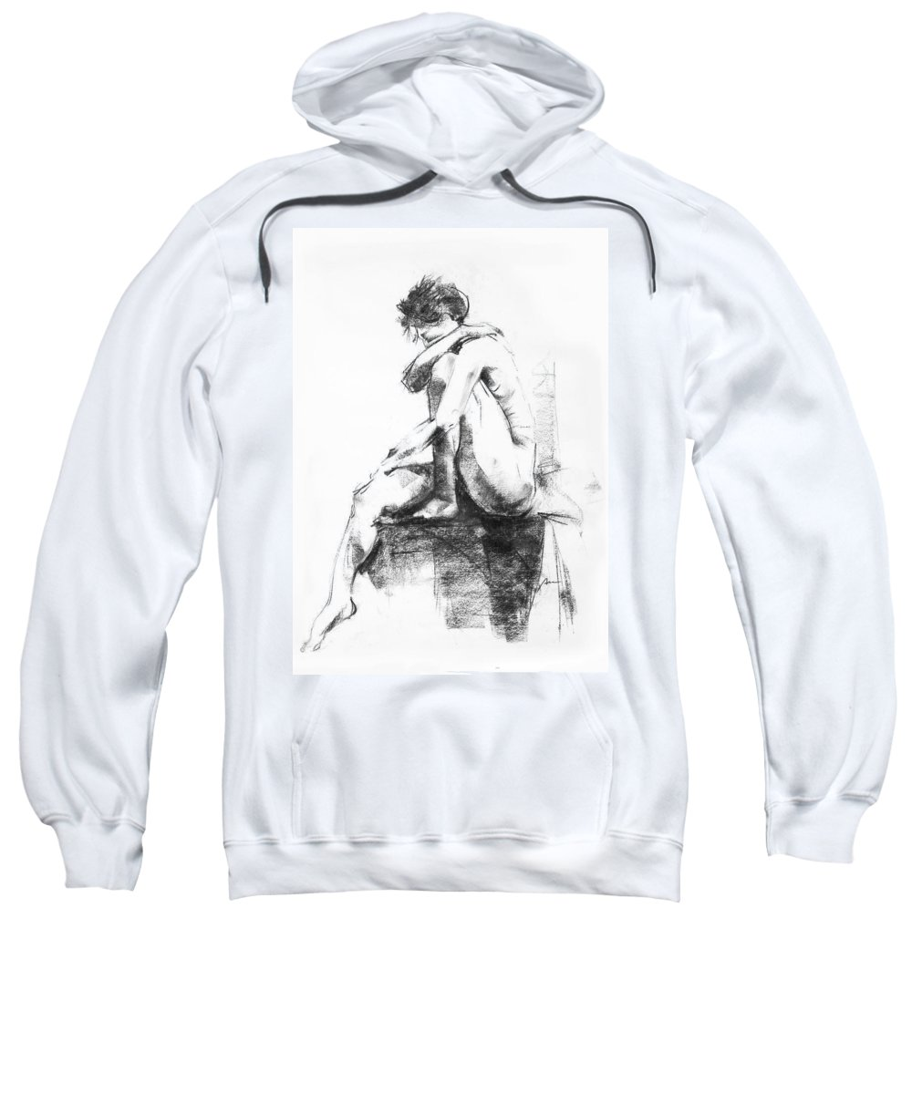 Nude Sweatshirt featuring the drawing Nude 11 by Ani Gallery