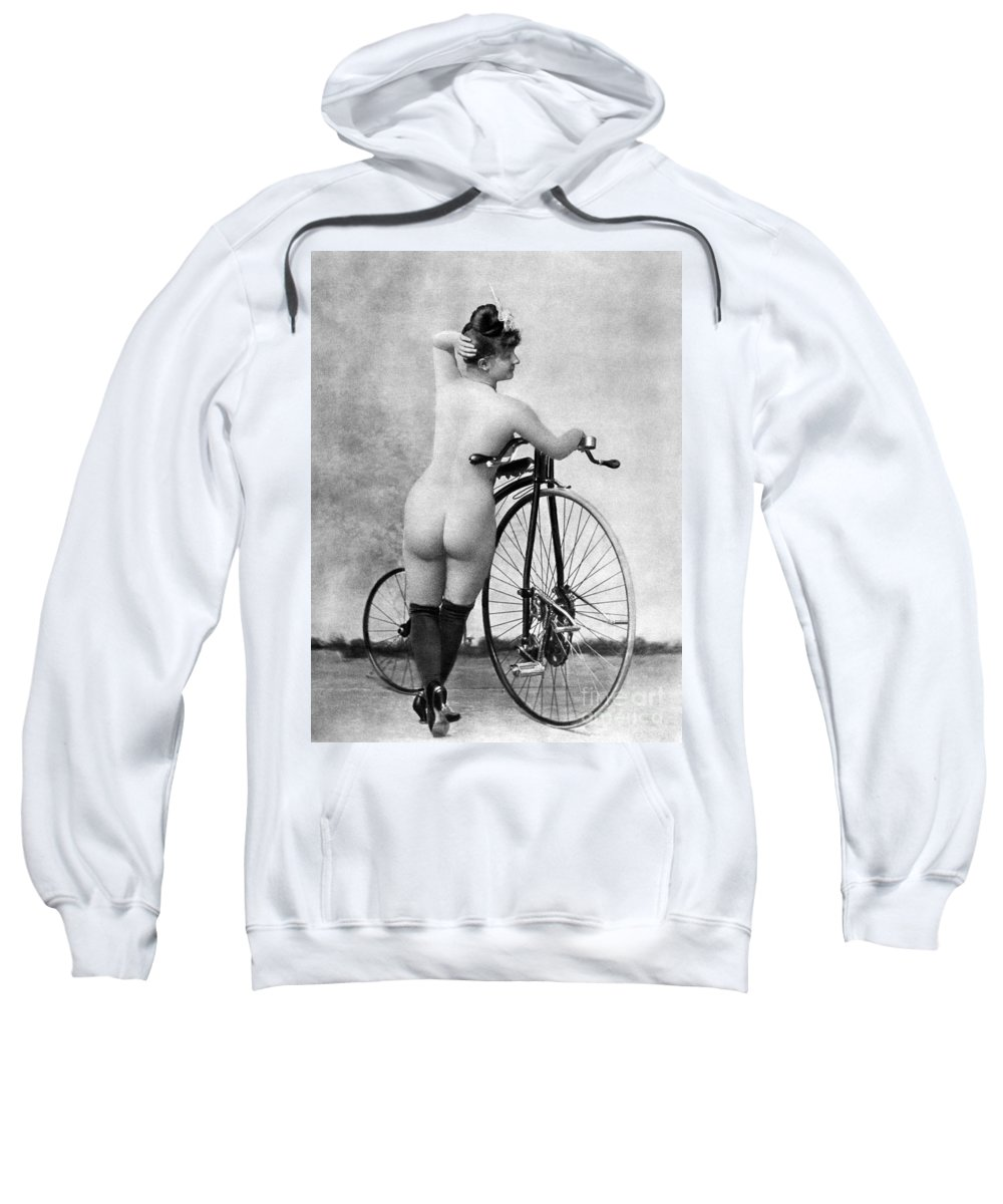 1885 Sweatshirt featuring the photograph Nude And Bicycle, C1885 by Granger