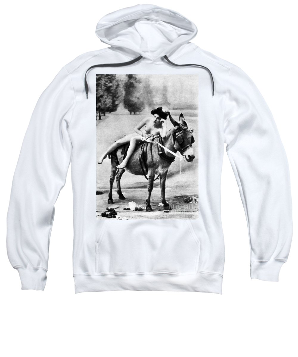 1900 Sweatshirt featuring the photograph Nude And Donkey, C1900 by Granger