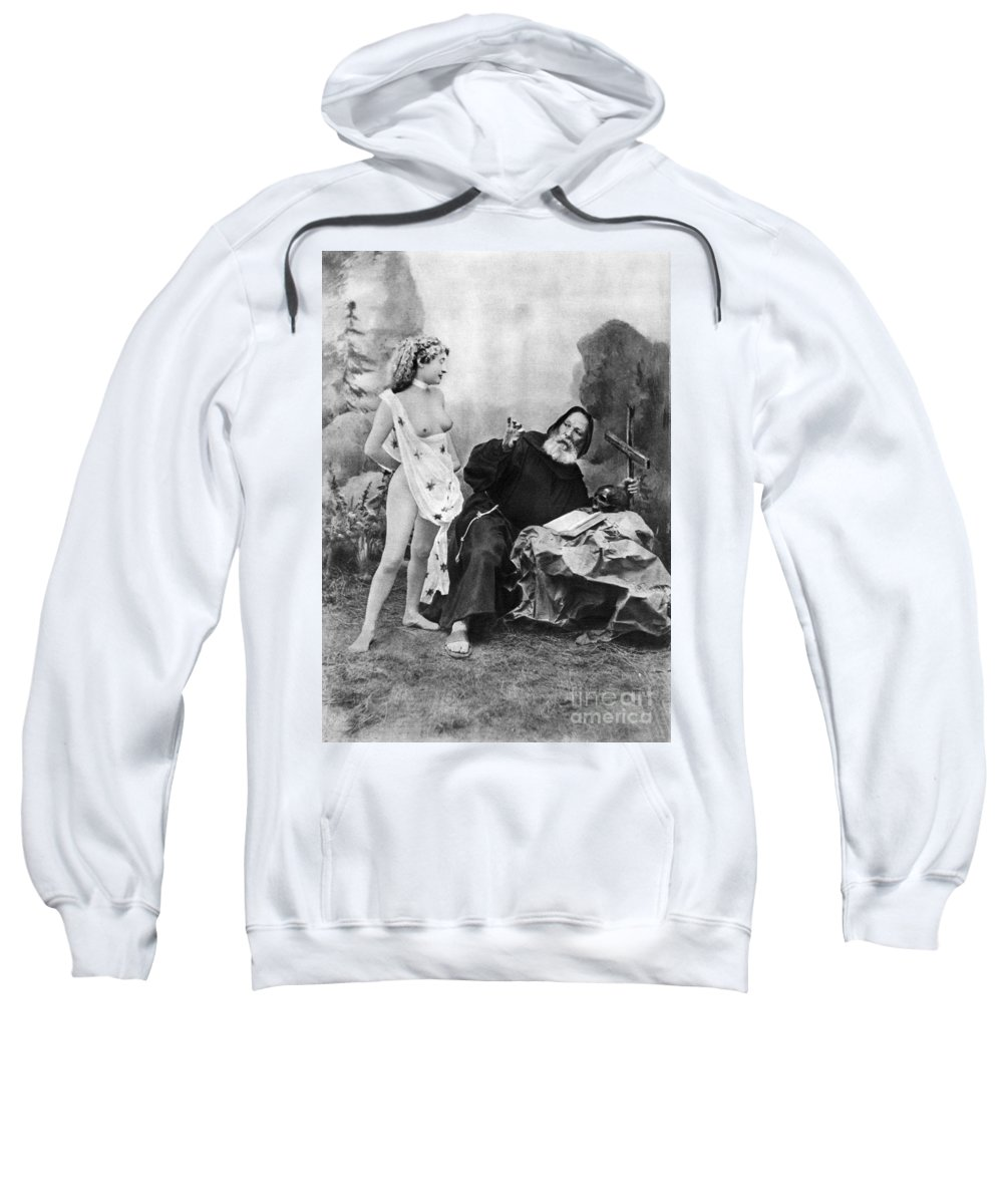 1895 Sweatshirt featuring the photograph Nude And Monk, C1895 by Granger
